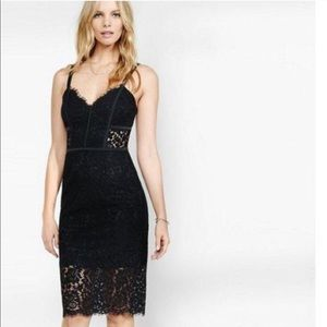 Express black lace midi dress 0